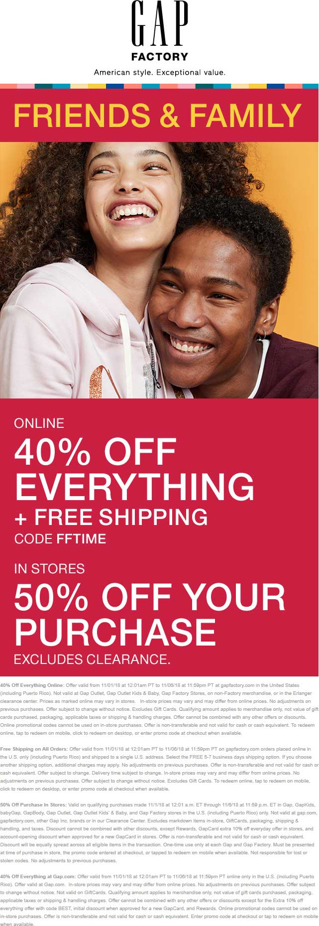 Gap Factory Coupon October 2019 50% off at Gap Factory, or 40% online via promo code FFTIME