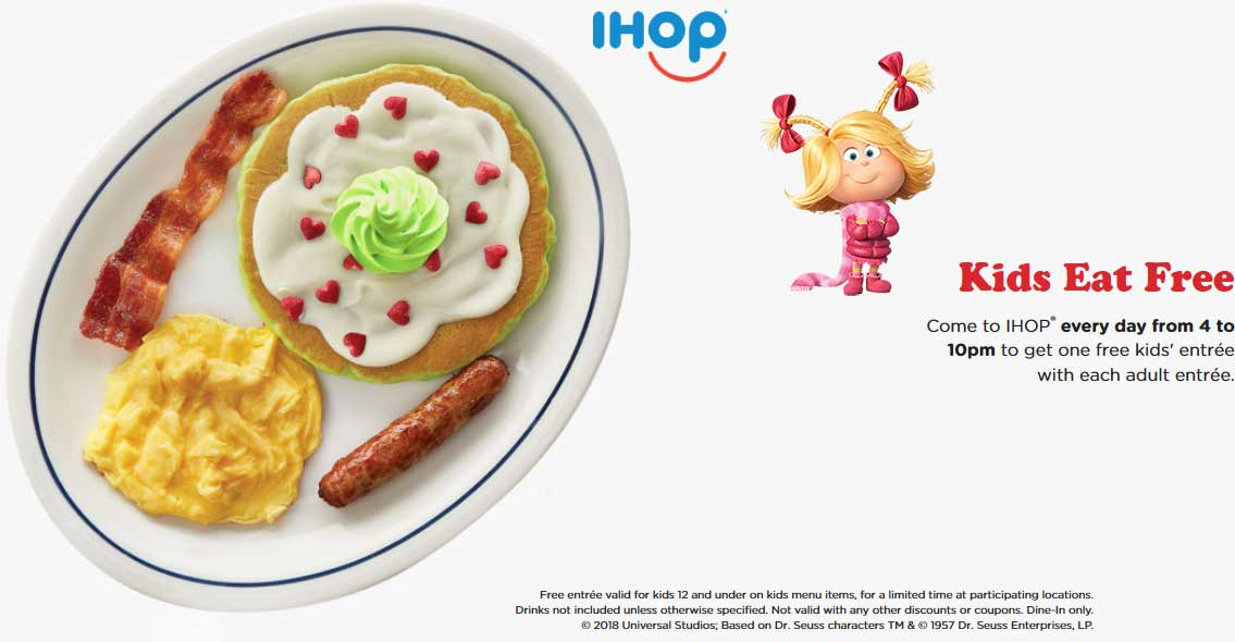 IHOP Coupon November 2019 Kids eat free with your entree 4-10p daily at IHOP restaurants