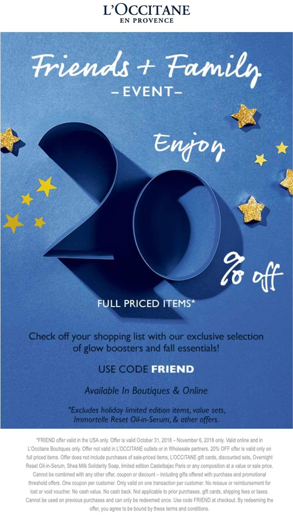 LOccitane Coupon October 2019 20% off at LOccitane, or online via promo code FRIEND