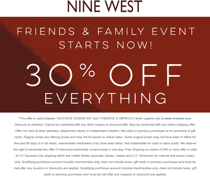 NineWest.com Promo Coupon 30% off online at Nine West