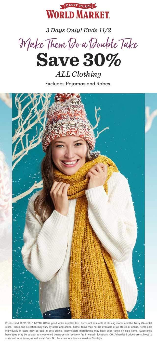 World Market Coupon January 2020 30% off clothing at World Market