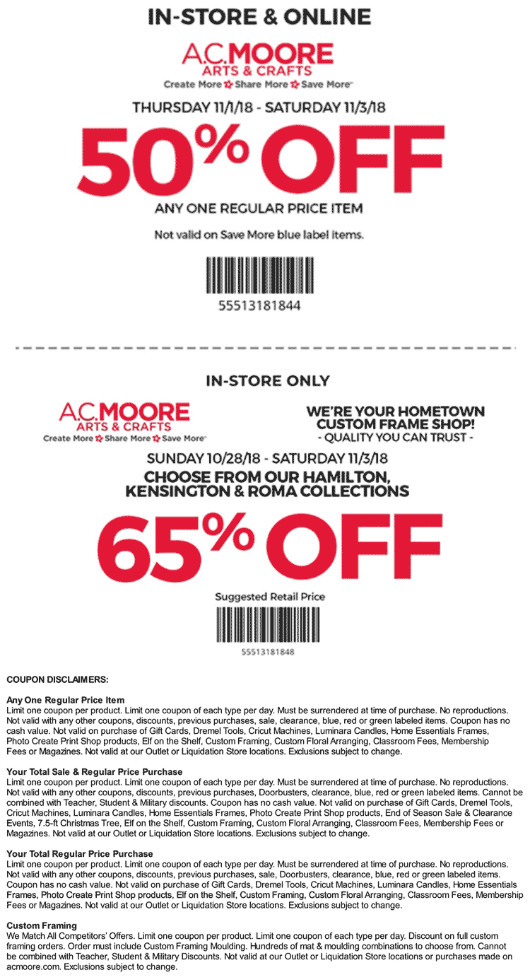 A.C. Moore Coupon February 2019 50% off a single item at A.C. Moore, or online via promo code 55513181844