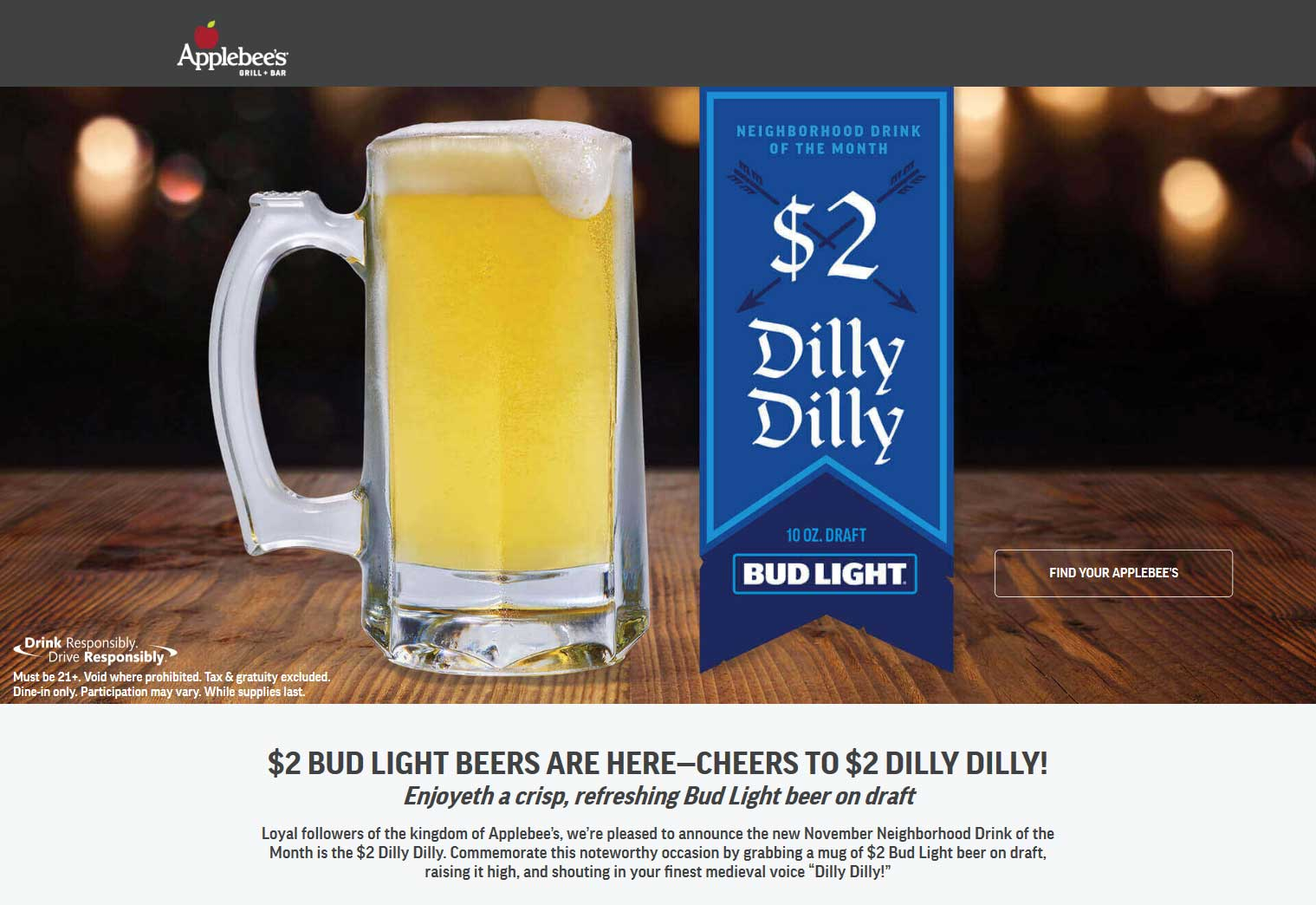 Applebees Coupon November 2019 $2 Bud Lights all month at Applebees restaurants