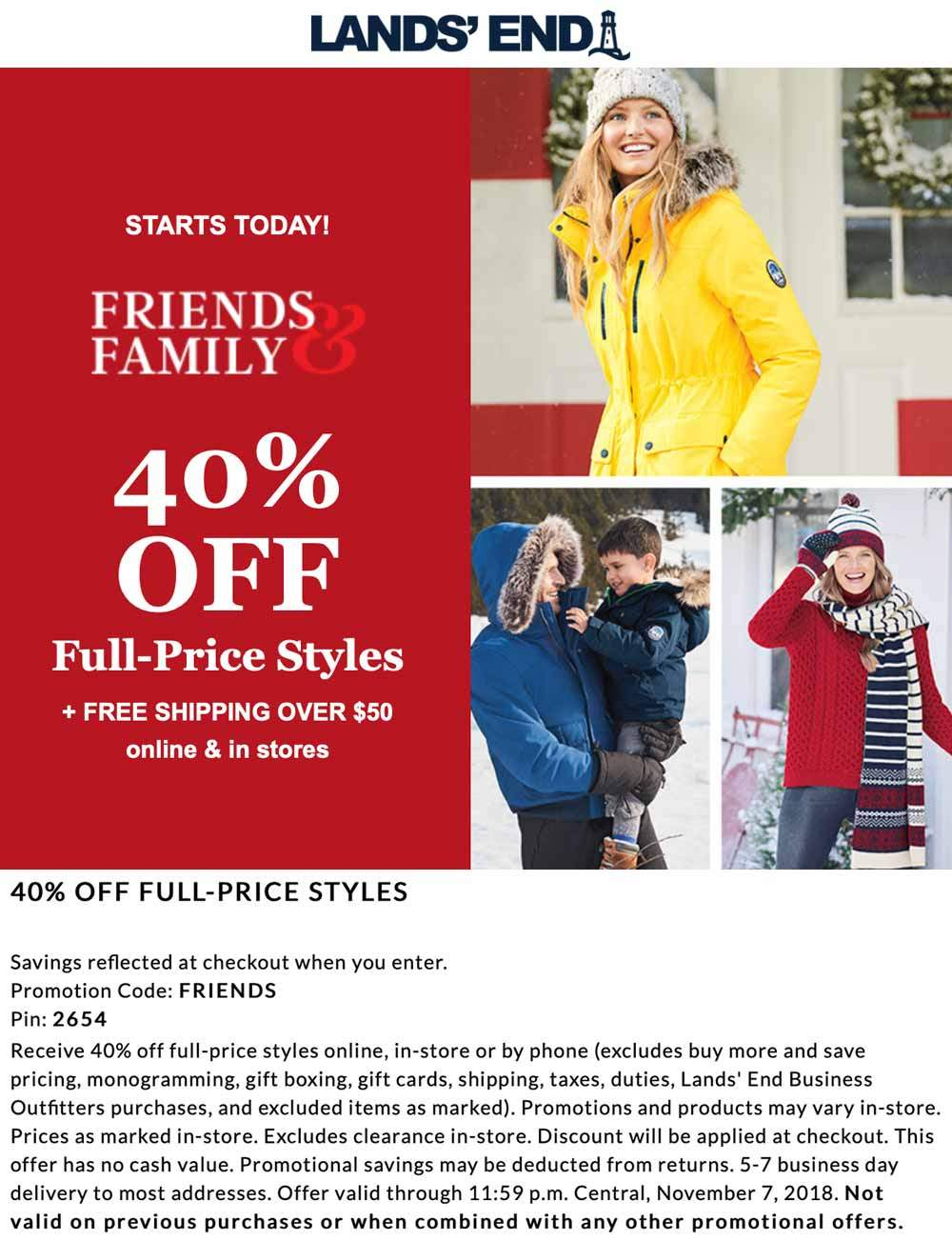Lands End Coupon November 2019 40% off at Lands End, or online via promo code FRIENDS and pin 2654