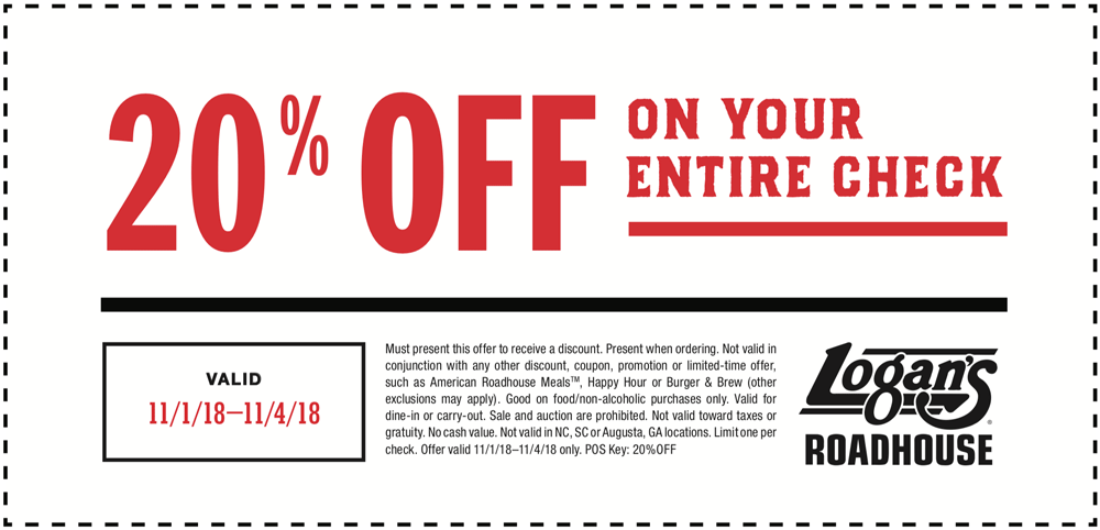 Logans Roadhouse Coupon November 2019 20% off at Logans Roadhouse restaurants