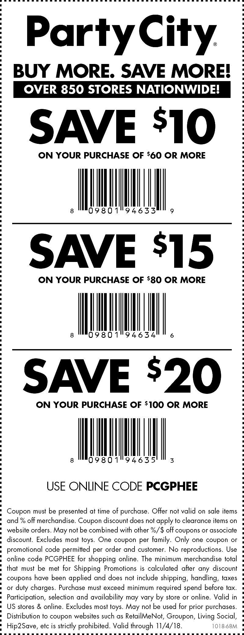 Party City Coupon November 2019 $10 off $60 at Party City, or online via promo code PCGPHEE
