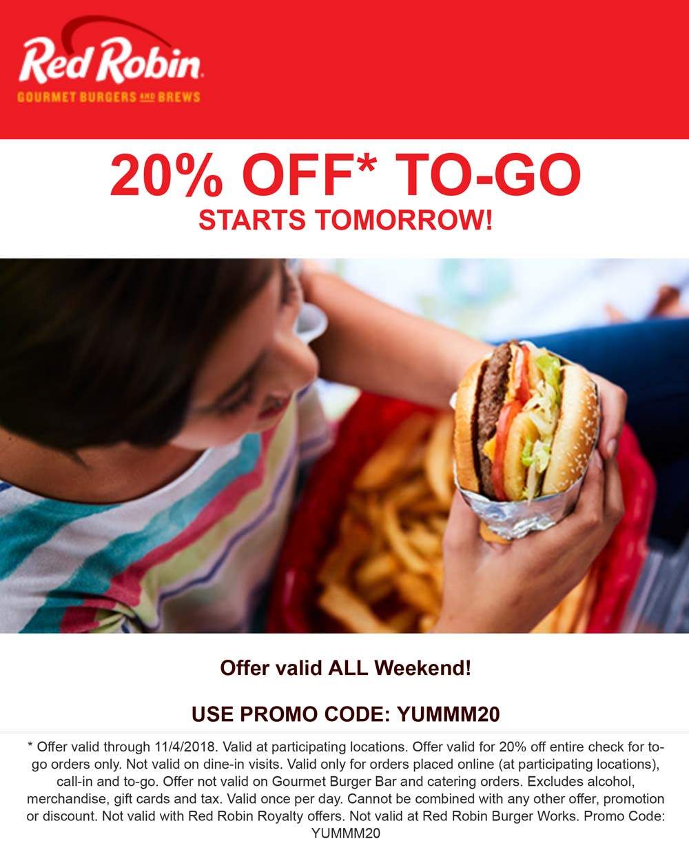 Red Robin Coupon November 2019 20% off to-go at Red Robin restaurants via promo code YUMMM20