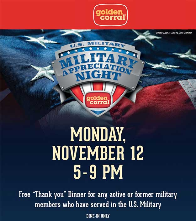 GoldenCorral.com Promo Coupon Free dinner for active or former military the 12th at Golden Corral