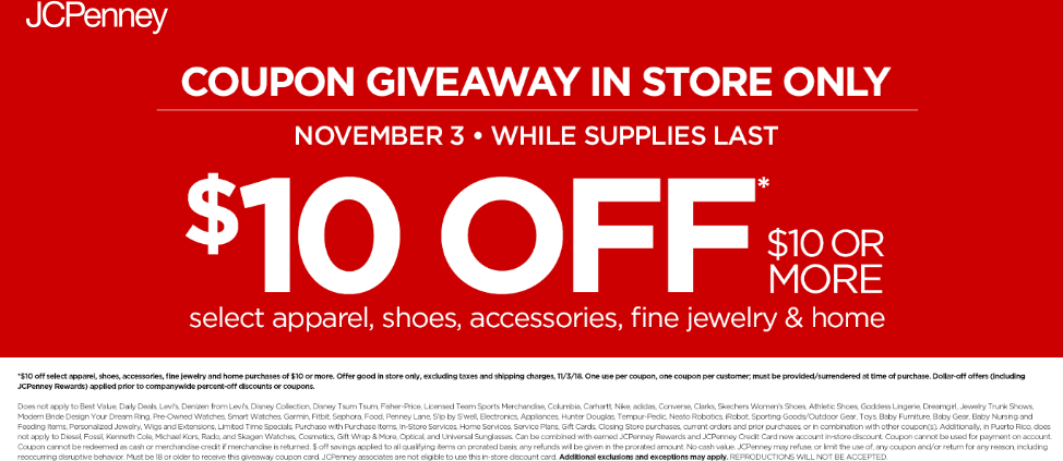 JCPenney Coupon September 2019 $10 off $10 while lasts in-store at JCPenney