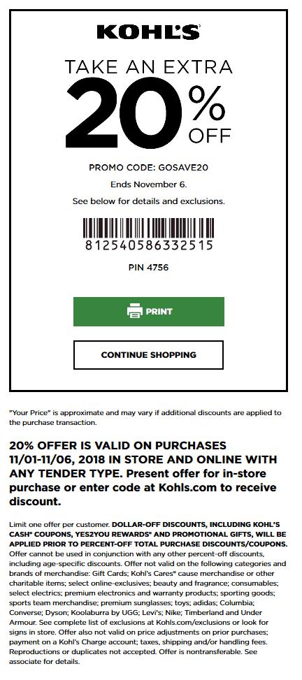 Kohls Coupon September 2019 20% off at Kohls, or online via promo code GOSAVE20