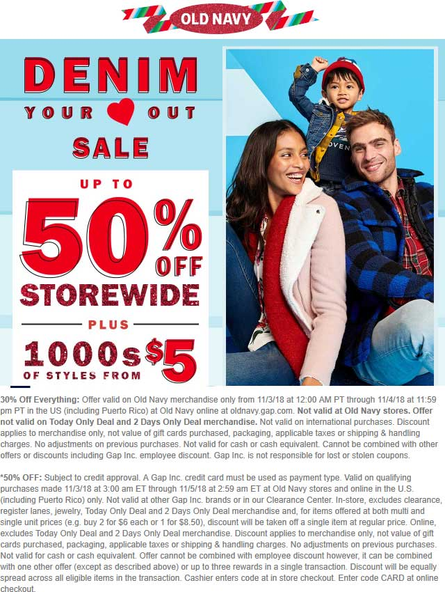 Old Navy Coupon November 2019 30% off everything online at Old Navy