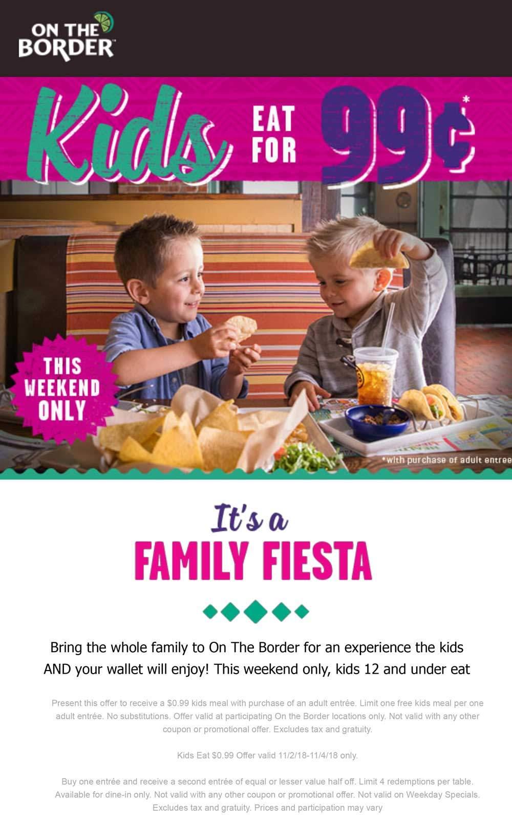 On The Border Coupon November 2019 Kids eat for $1 at On The Border restaurants