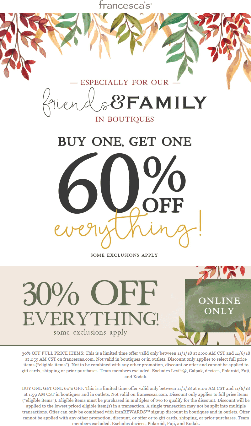 Francescas Coupon July 2019 Second item 60% off at Francescas, or 30% off everything online