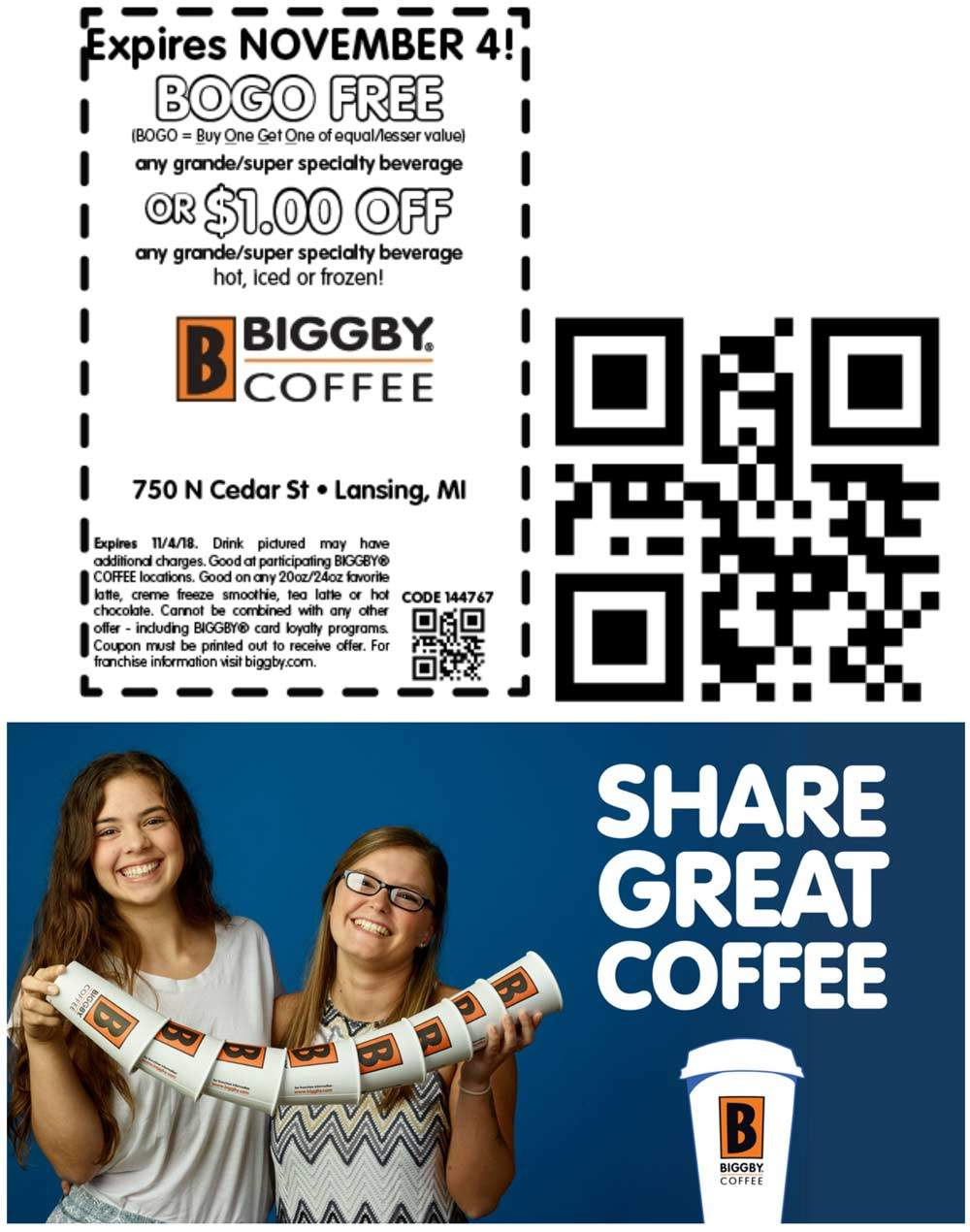 Biggby Coffee Coupon November 2019 Second beverage free today at Biggby Coffee