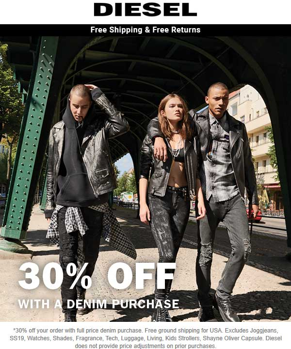 Diesel Coupon September 2019 30% off with your denim purchase at Diesel, ditto online