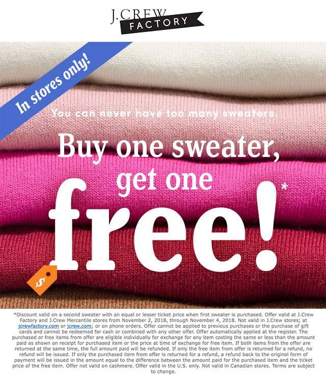 J.Crew Factory Coupon April 2019 Second sweater free today at J.Crew Factory locations