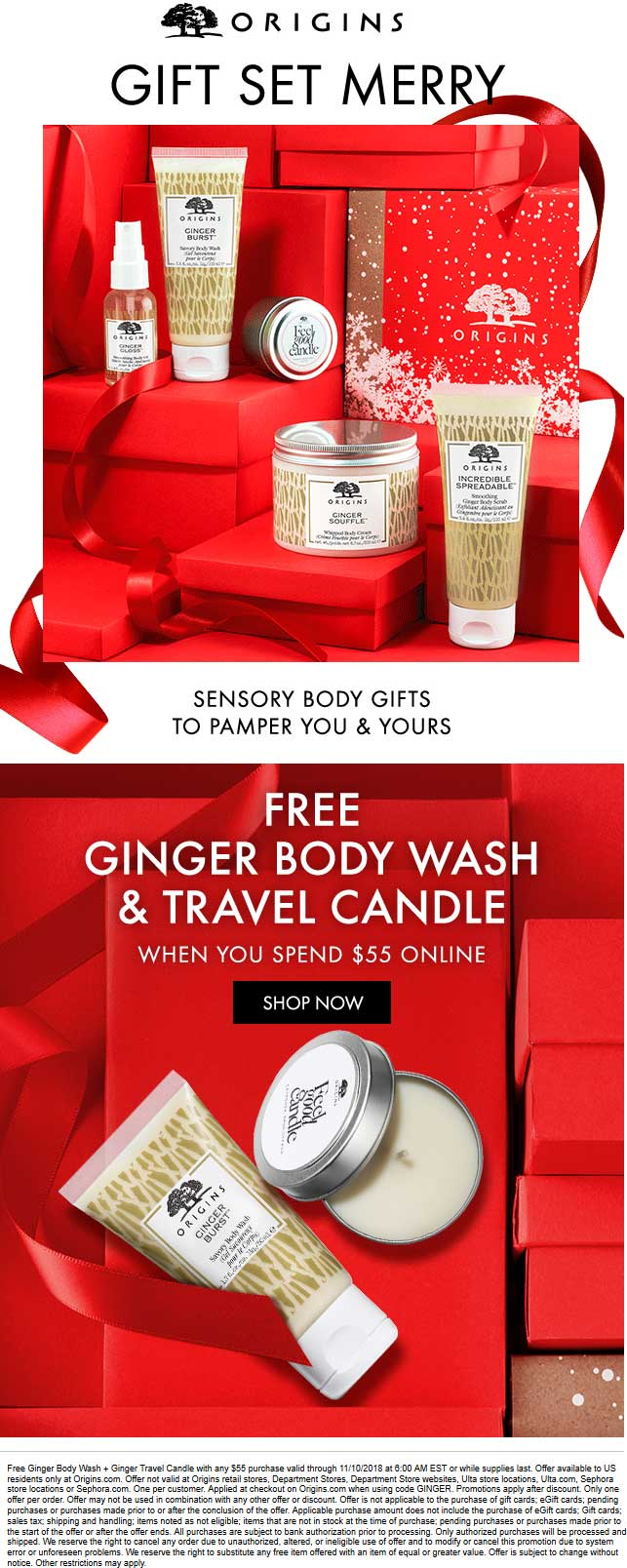 Origins Coupon January 2020 Free Ginger body wash + candle with $55 spent online at Origins via promo code GINGER