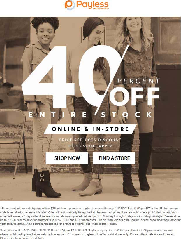 Payless Shoesource Coupon November 2019 40% off at Payless Shoesource, dito online