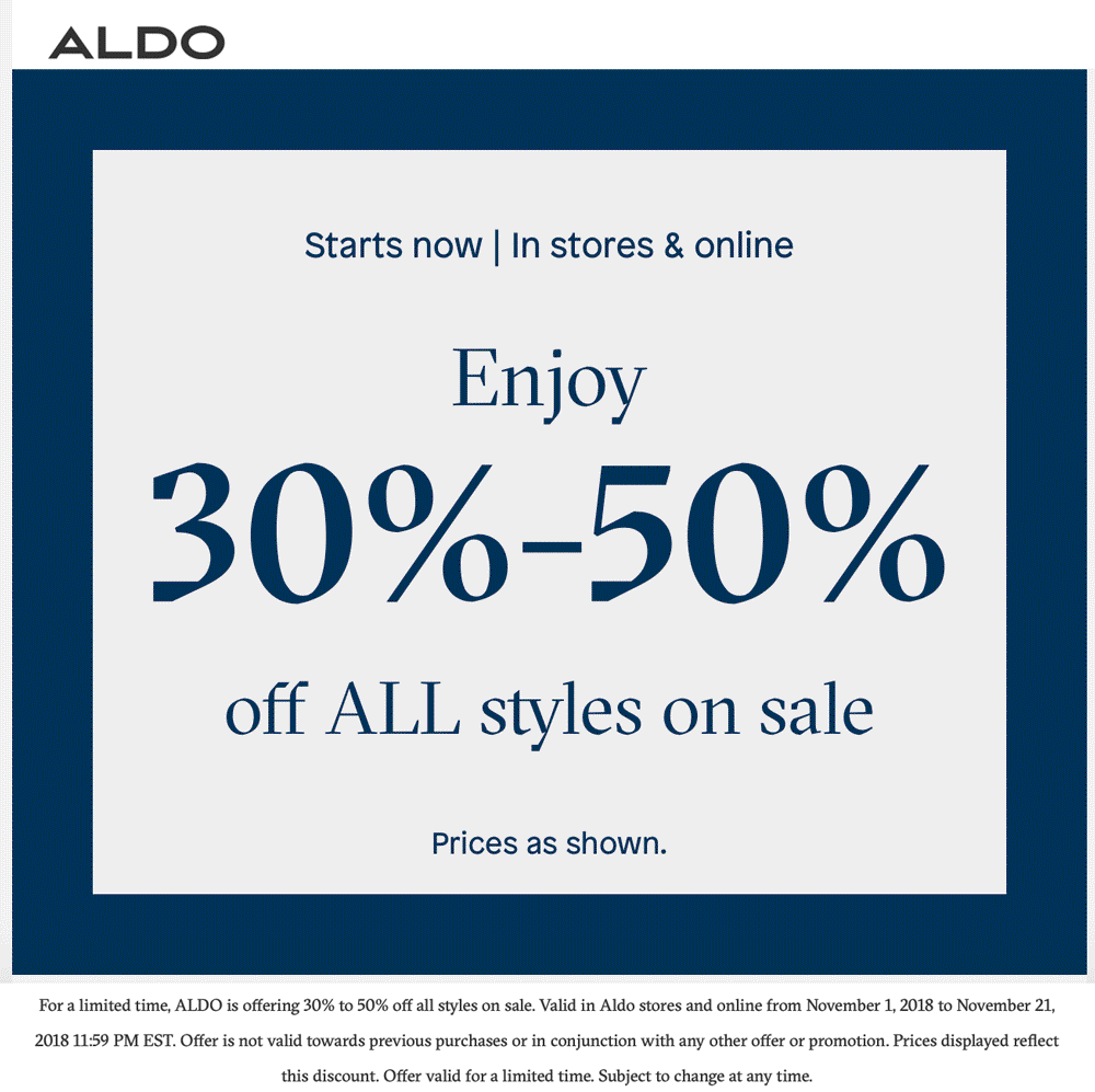 Aldo Coupon January 2020 30-50% off sale items at ALDO, ditto online