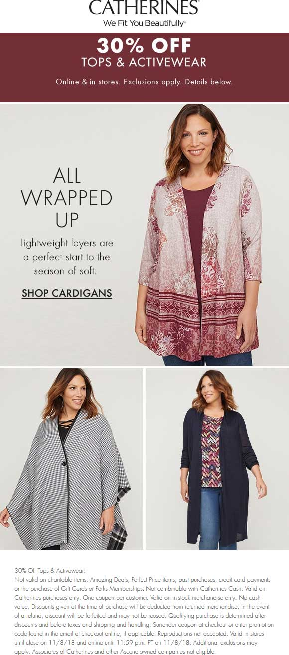 Catherines Coupon May 2019 30% off tops & activewear at Catherines, ditto online