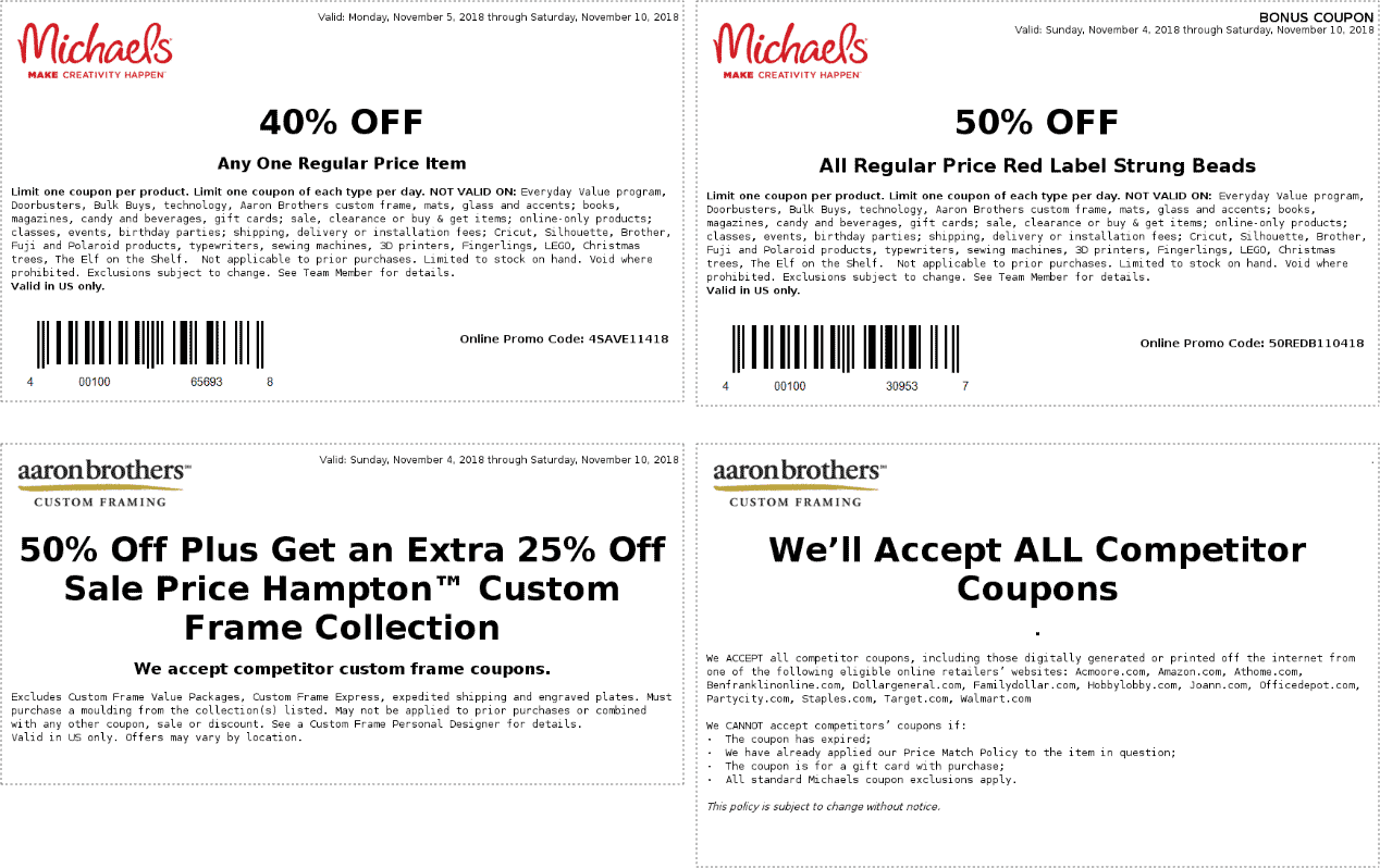 Michaels Coupon January 2020 40% off a single item & more at Michaels, or online via promo code 4SAVE11418