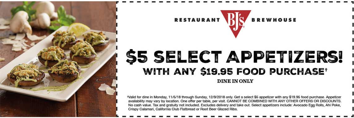 BJs Restaurant Coupon November 2019 $5 appetizers at BJs Restaurants