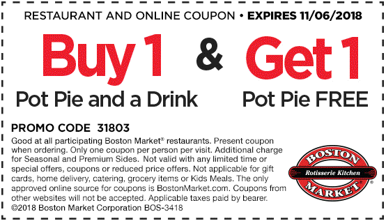 Boston Market Coupon January 2020 Second pot pie free today at Boston Market