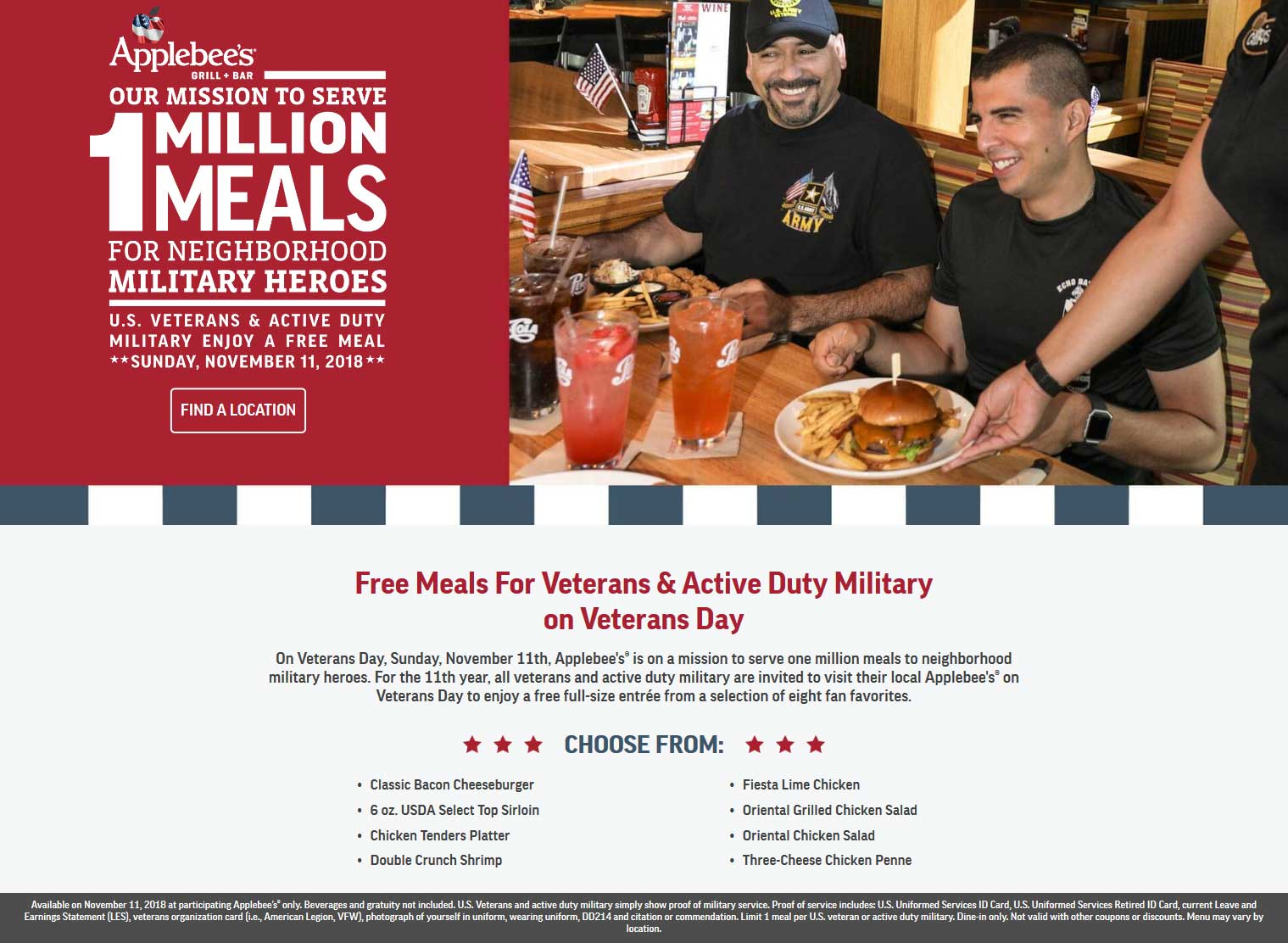 Applebees Coupon March 2019 Veterans & military enjoy a free meal Sunday at Applebees