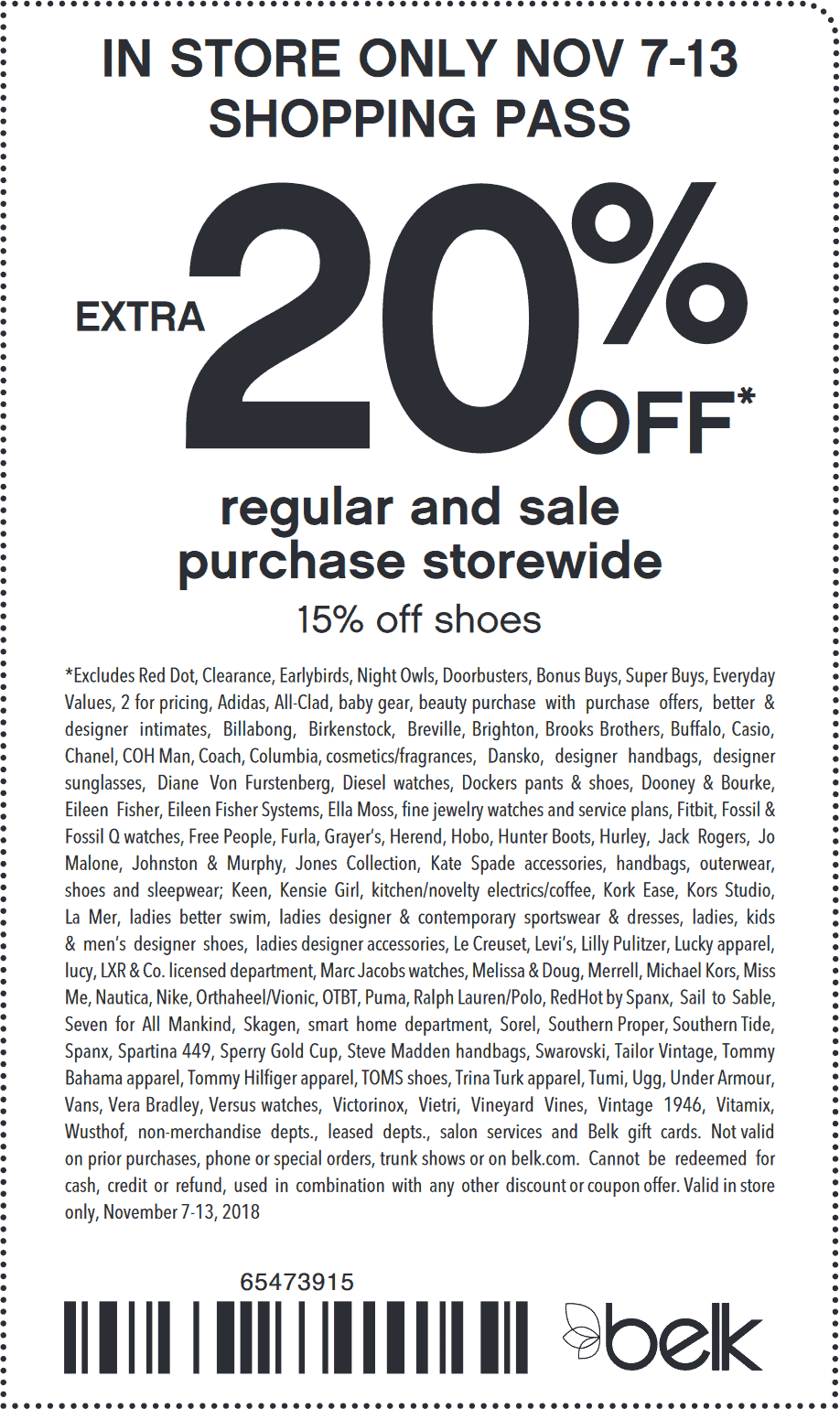 Belk Coupon November 2019 $xtra 20% off at Belk, or online via promo code HOLIDAYSTOCKUP