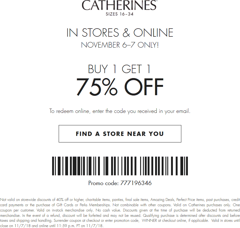 Catherines Coupon October 2019 Second item 75% off today at Catherines, or online via promo code WINNER