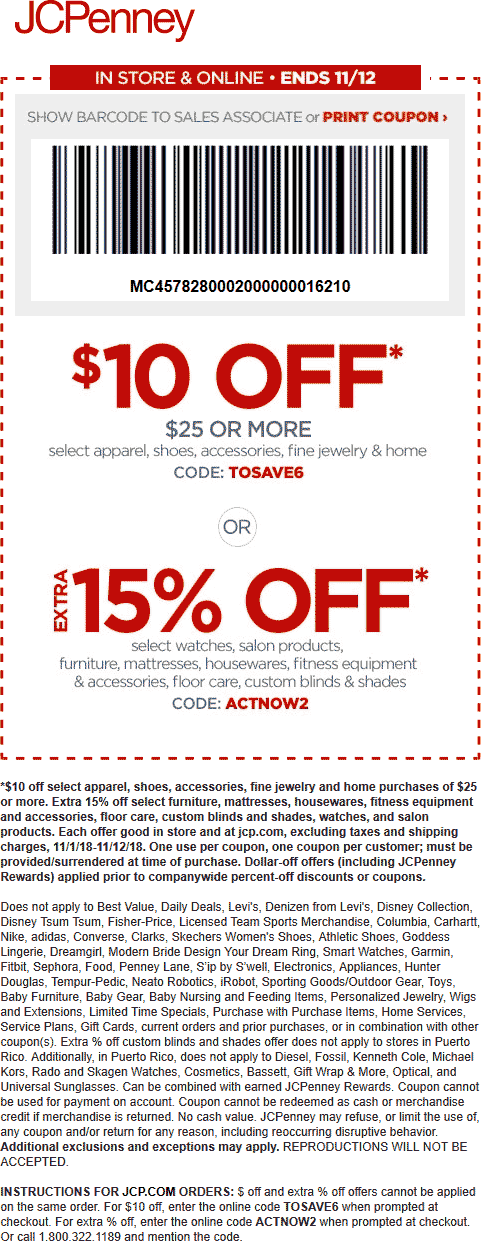 JCPenney Coupon November 2018 $10 off $25 & more at JCPenney, or online via promo code TOSAVE6