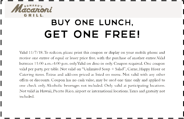 Macaroni Grill Coupon February 2019 Second lunch free today at Macaroni Grill