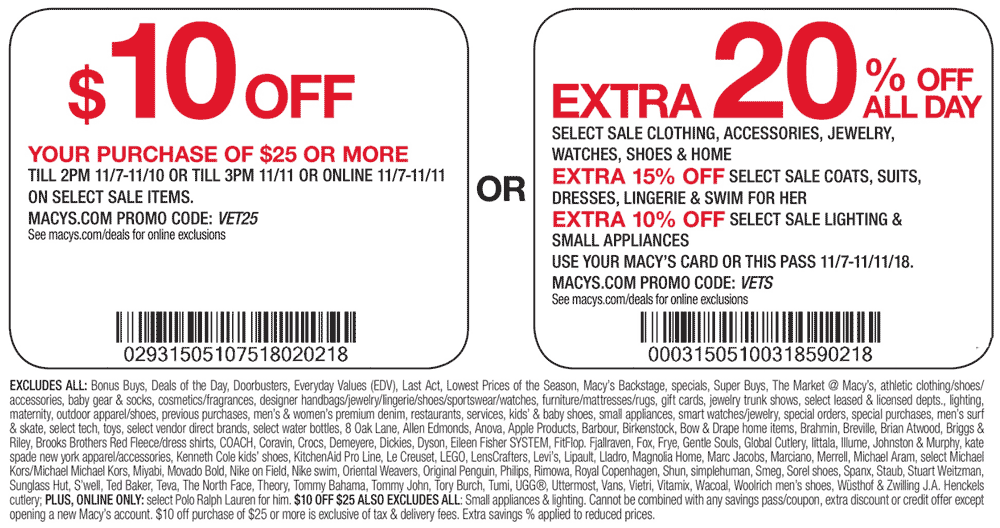 Macys Coupon March 2019 $10 off $25 & more at Macys, or online via promo code VET25