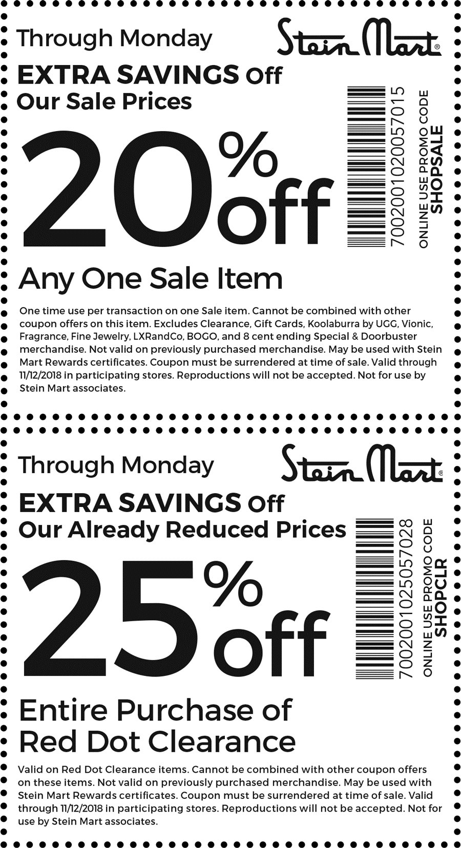 Stein Mart Coupon November 2019 20-25% off at Stein Mart, or online via promo code SHOPSALE