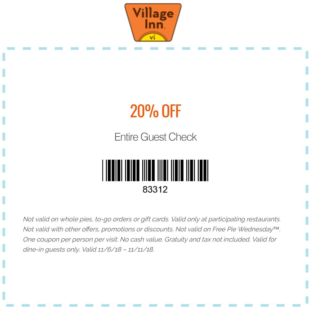 Village Inn Coupon May 2019 20% off at Village Inn restaurants