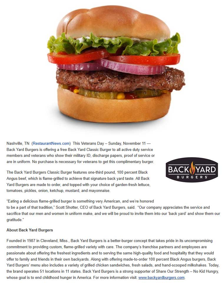 Back Yard Burgers Coupon January 2020 Military & vets enjoy a free cheeseburger Sunday at Back Yard Burgers restaurants