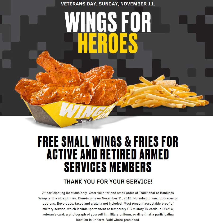 Buffalo Wild Wings Coupon September 2019 Armed services enjoy free wings + fries Sunday at Buffalo Wild Wings restaurants