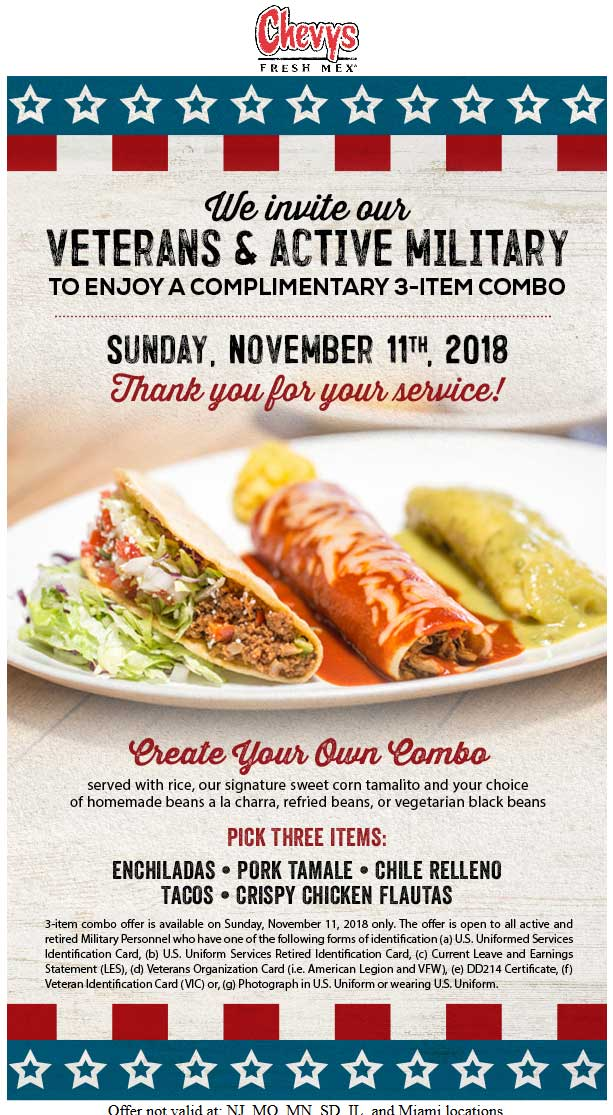 Chevys Fresh Mex Coupon May 2019 Veterans & military enjoy a free 3pc combo meal Sunday at Chevys Fresh Mex