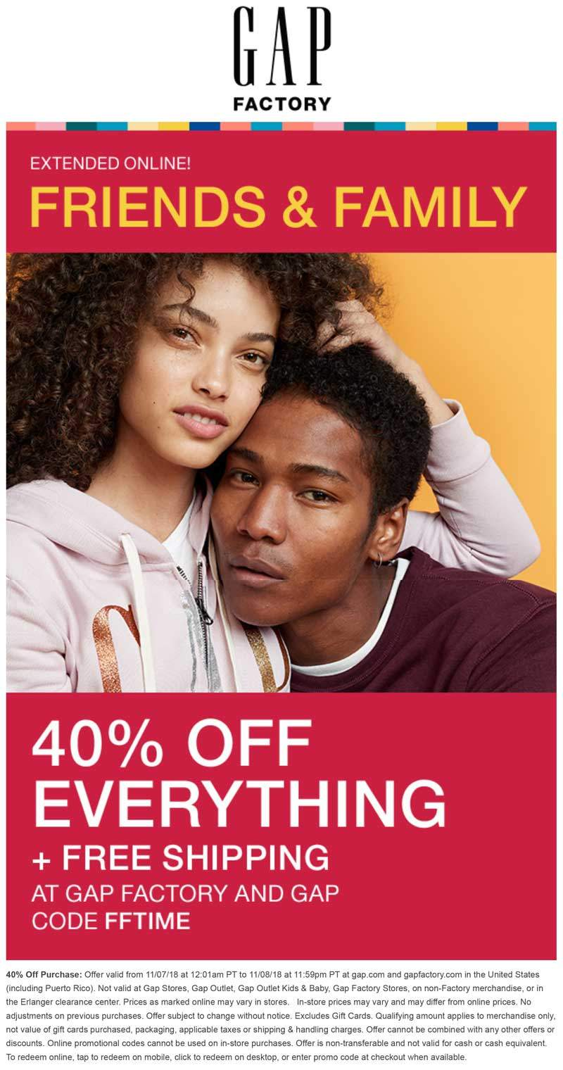 Gap Factory Coupon September 2019 40% off online today at Gap Factory via promo code FFTIME