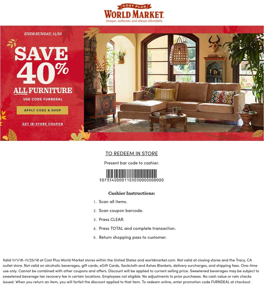 World Market Coupon March 2019 40% off furniture at World Market, or online via promo code FURNDEAL