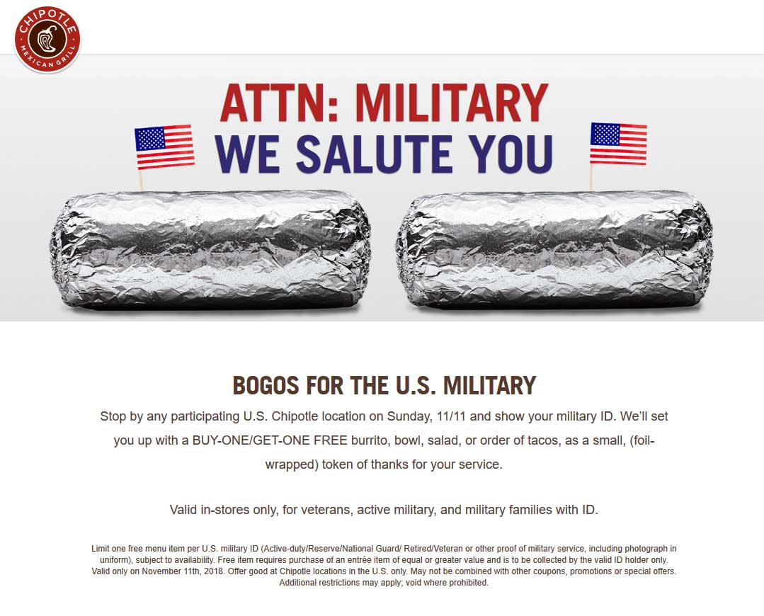 Chipotle Coupon November 2019 Military ID = second burrito free Sunday at Chipotle restaurants