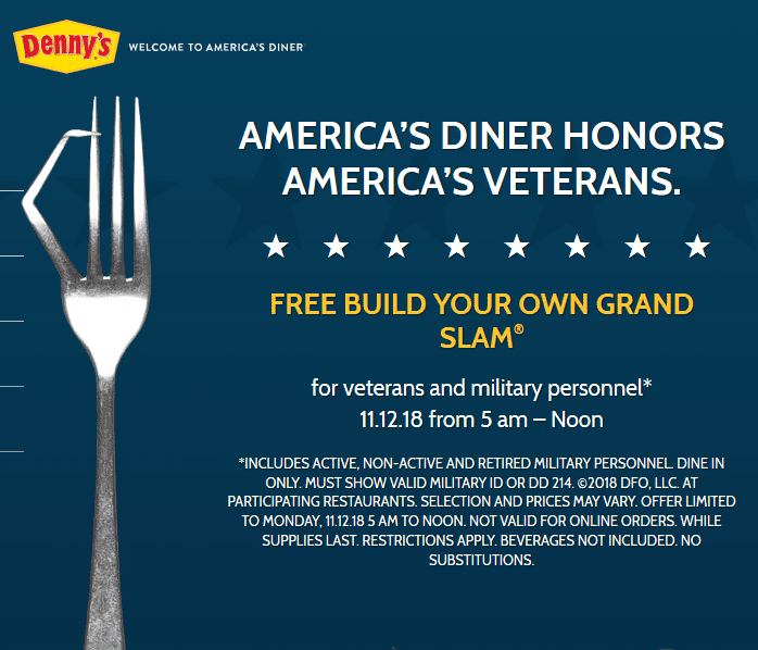 Dennys.com Promo Coupon Military enjoy a free grand slam breakfast Monday at Dennys