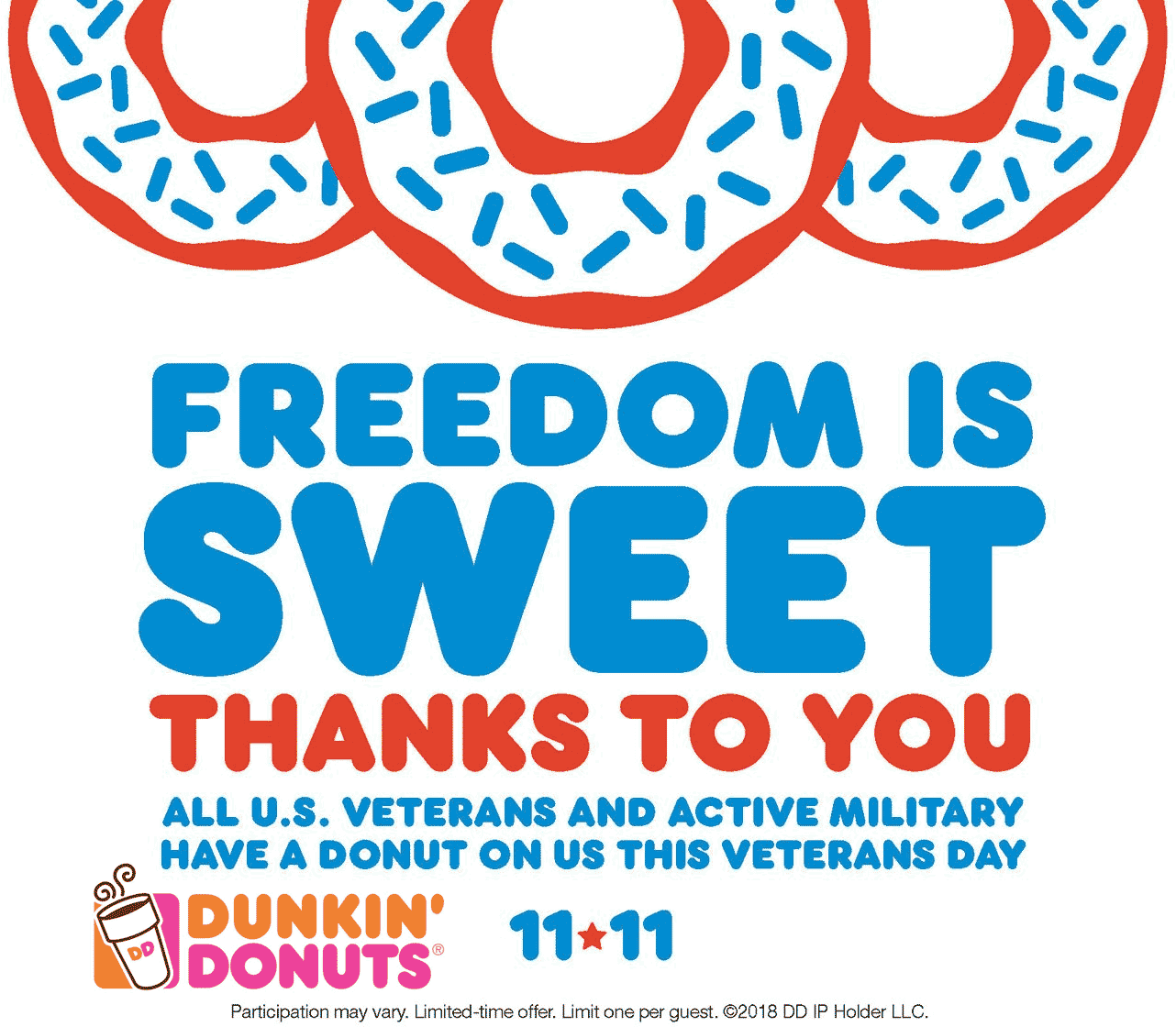 Dunkin Donuts Coupon October 2019 Military enjoy a free donut Sunday at Dunkin Donuts