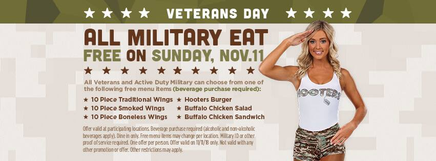 Hooters Coupon October 2019 Military eat free Sunday at Hooters