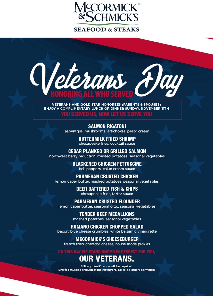 McCormick & Schmicks Coupon May 2019 Veterans enjoy a free lunch or dinner Sunday at McCormick & Schmicks seafood & steaks