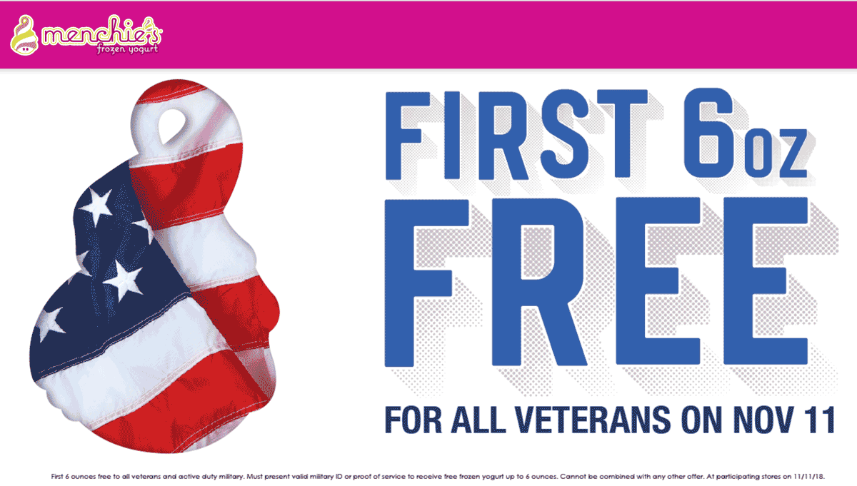 Menchies Coupon July 2019 Veterans enjoy free frozen yogurt Sunday at Menchies