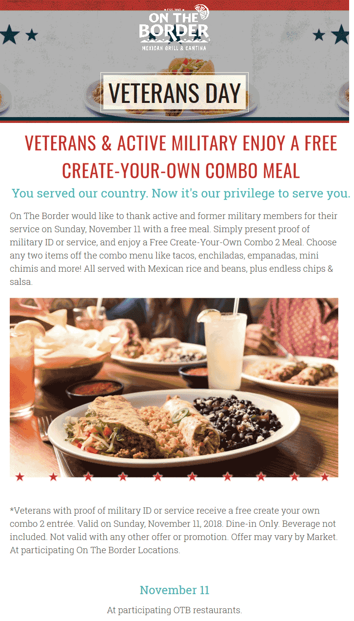 On The Border Coupon October 2019 Military enjoy a free combo meal Sunday at On The Border