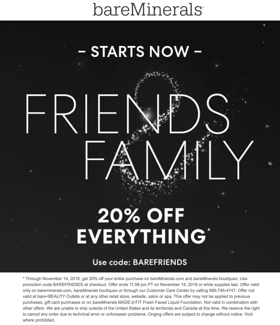 bareMinerals Coupon May 2019 20% off everything at bareMinerals, or online via promo code BAREFRIENDS