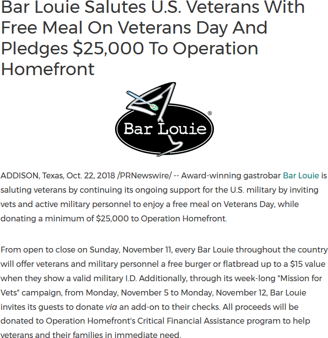 Bar Louie Coupon July 2019 Veterans enjoy a free $15 meal Sunday at Bar Louie