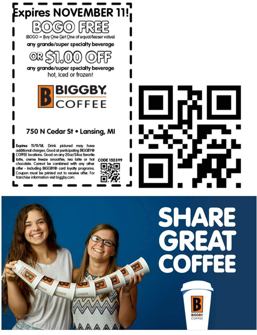 Biggby Coffee Coupon January 2020 Second drink free at Biggby Coffee